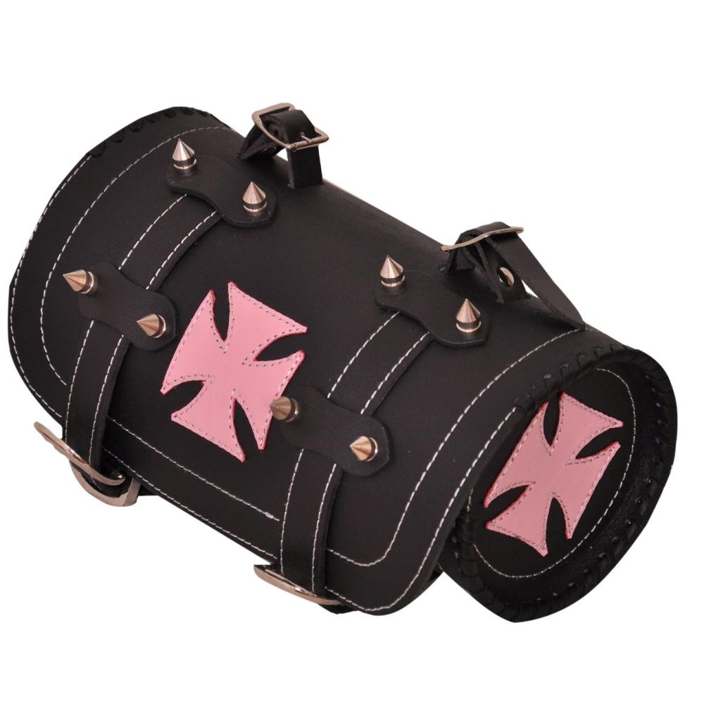 Kožená moto rolka Cross pink